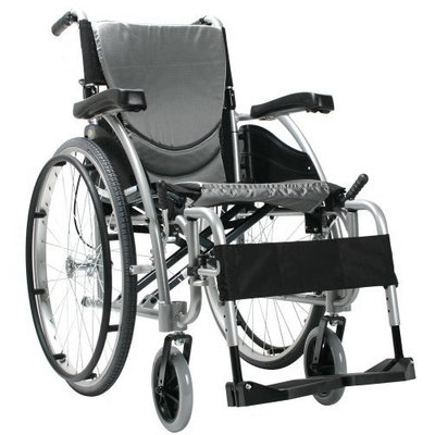 Karman Ergonomic Wheelchair in 20 inch Seat and Quick Release Axles, Pearl Silcer Frame