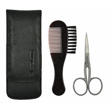 Pfeilring Germany - Men Grooming Set, Beard Scissors, Beard Brush & Comb Combination, Fine Black Nappa Leather Case