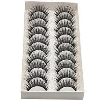 False Eyelashes for Women, Iuhan 10 Pairs Thick Long Cross Party False Eyelashes Black Band Fake Eye Lashes