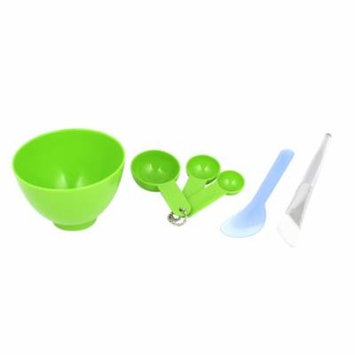Unique Bargains 6 in 1 Green DIY Cosmetic Brush Spoon Stick Facial Mask Bowl Tool Set