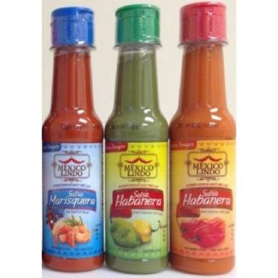 Gourmet Castillo Mexico Lindo Hot Sauce Salsas Variety Bundle, 5 fl oz (Pack of 3) includes 1-Bottle Habanera Roja + Habanera Verde + Marisquera