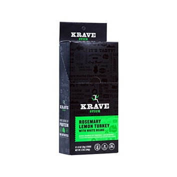 KRAVE Meat Stick, Rosemary Lemon Turkey with White Beans, Gluten Free, 1 Ounce (Count of 12)