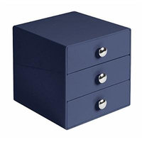 InterDesign 3 Drawer Storage Organizer for Cosmetics, Makeup, Beauty Products and Office Supplies, Navy