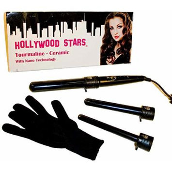 Hollywood Stars Tourmaline Ceramic Professional 19mm 25mm 32mm Trio Digital LCD Hair Curling Iron Dual Voltage American Plug HAI CHI 110-240V with Glove