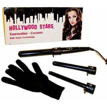 Hollywood Stars Tourmaline Ceramic Professional 19mm 25mm 32mm Trio Digital LCD Hair Curling Iron Dual Voltage American Plug HAI CHI 110-240V with Glove