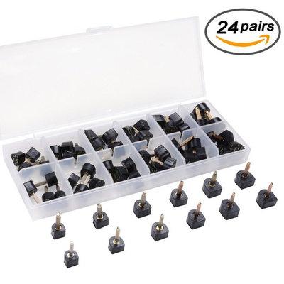 eMingo 24 Pairs High Heel Tips Shoes Replacement Tap Caps,6 Size,8,/9/10/11/12/12.5mm,U-Shape, Black
