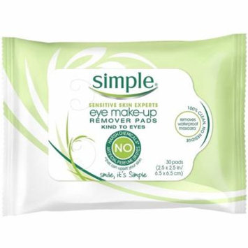 Simple Sensitive Skin Experts Eye Make-Up Remover Pads 30 ea (Pack of 6)