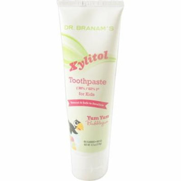 Branam Oral Health Xylitol Toothpaste for Kids, Yum Yum Bubblegum, 4.2 oz (Pack of 4)