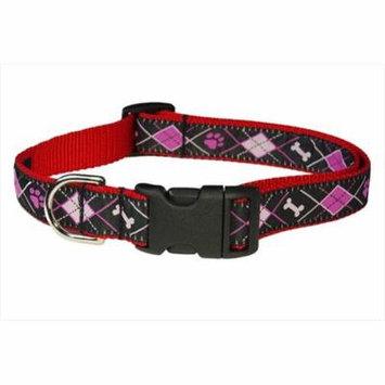Sassy Dog Wear ARGYLE BLACK3-C Argyle Dog Collar, Black - Medium