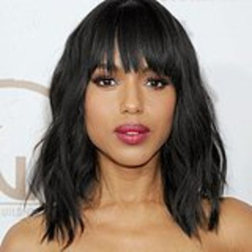 Fashion Women Long Bob Wigs Synthetic Fiber Hair Wigs With Neat Bangs Natural Loose Wavy Black Wigs Color 1B Shoulder Length