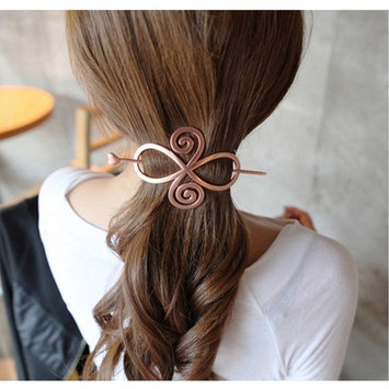 Joyci 1pcs Korean Exaggerated Hair Clasp The Horsetail Hair Pin Hollow Hoop Round Metal Updo Set Geometric Pierced Barrette Hair. (02, Rose g