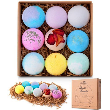 Lifestance Organic fizzy Bath Bombs Gift Set,9x2.5oz Handmade Bath Fizzies for Kids,Women,Men Birthday Gift ideas