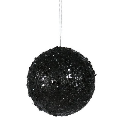 Fancy Black Glitter Drenched Christmas Ball Ornament 3