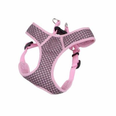 Coastal Pet Products Comfort Soft Sport Wrap 06385 GYPXXS 3/8 Inch Nylon Adjustable Dog Harness, 2XS, 14 - 16 Inch Girth, Grey with Pink