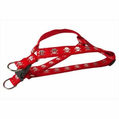 sassy dog wear reflective skull-red2-h reflective skull dog harness, red - small