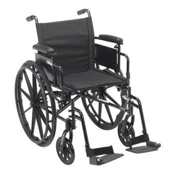 Drive Medical Cruiser X4 Lightweight Dual Axle Wheelchair with Adjustable Detachable Arms, Desk Arms, Swing Away Footrests, 20