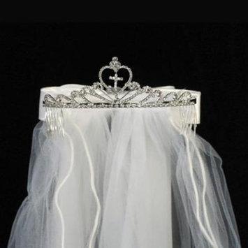 Girls White Cross Rhinestone Satin Bow Communion 24