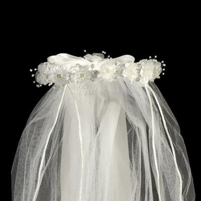 White Organza Flowers Rhinestone Pearl Satin Bow Special Occasion 24