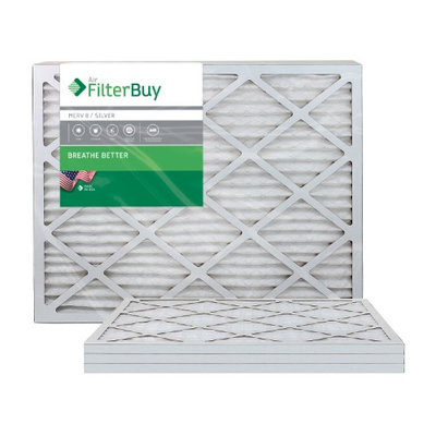 AFB Silver MERV 8 25x29x1 Pleated AC Furnace Air Filter. Filters. 100% produced in the USA. (Pack of 4)