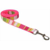 Sassy Dog Wear STRIPE-NEON PINK4-L 6 ft. Multi Stripe Dog Leash, Neon Pink - Large