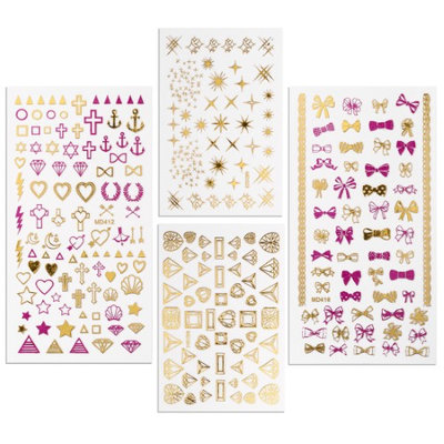 BMC By Bundle Monster Pink & Gold Metallic Foil Nail Art Stickers-Teenage Dream (Pack of 4)
