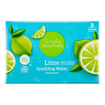 Lime Sparkling Water - 8pk/12 fl oz Cans - Simply Balanced™