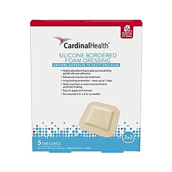 Cardinal Health Silicone Bordered Foam Dressings, 5 count