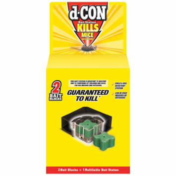 d-CON Refillable Corner Fit Mouse Poison Bait Station, 1 Trap + 2 Bait Refills
