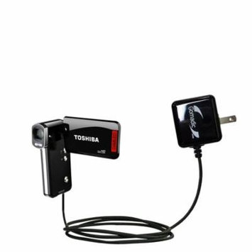 Gomadic Intelligent Compact AC Home Wall Charger suitable for the Toshiba Camileo P100 - High output power with a convenient, foldable plug design - U