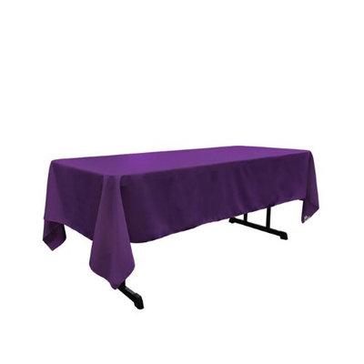 LA Linen TCpop60x102-PurpleP23 Polyester Poplin Rectangular Tablecloth Purple - 60 x 102 in.