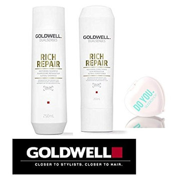 Goldwell Dualsenses Rich Repair Restoring Shampoo & Conditioner DUO Set (with Sleek Compact Mirror) (10.1 oz / 300ml Kit)