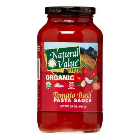 Natural Value Organic Pasta Sauce, Tomato Basil, 24 Oz