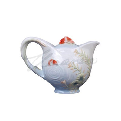 Unicorn Studios AP20239AA Koi in Lotus Pond Teapot with Koi Lid Glazed