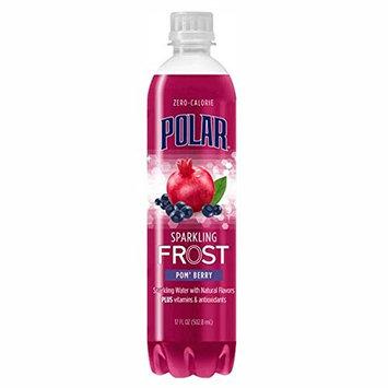 Polar Frost Pom' Berry Sparkling Water 17 oz Plastic Bottles - Pack of 24 [Pom' Berry]