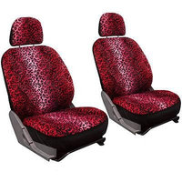 Istiloshoppe Car Accessories SUV Seat Covers for Ford Expedition Red Leopard Animal Detachable Head Rest