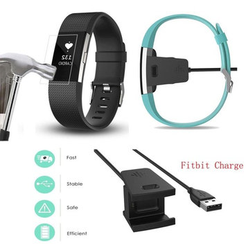 AutumnFall Replacement USB Charger Charging Cable Cradle Dock Adapter + HD Screen Protector for Fitbit Charge 2
