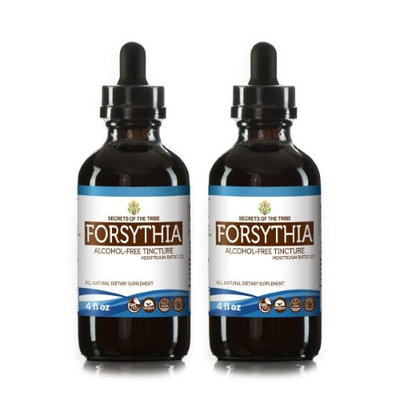 Secrets Of The Tribe Forsythia Tincture Alcohol-FREE Extract, Organic Forsythia (Lian Qiao, Forsythia Suspensa) Dried Fruit 2x4 oz