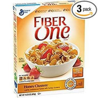 Fiber One Honey Clusters Lightly Sweetened Flakes 14.25 Oz. Pack Of 3.