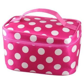Rosallini Zipper Closure White Dots Pattern Dark Pink Cosmetic Hand Case Bag