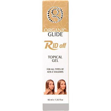 Organic Glide RID OFF Topical Gel for Acne Pimples & Blackheads Treatment with Dead Sea Mineral Salt + Nettle & Ginger + Bamboo + Lemongrass + Canadian Willow Herb, 40ml