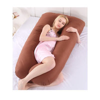 Large U Shaped Contoured Body Pregnancy Nursing Maternity Pillow Brown