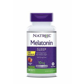 Natrol Melatonin Fast Dissolve Tablets, Strawberry flavor, 10mg, 200 Count [10mg]