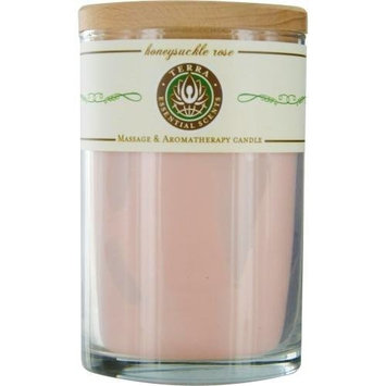 Terra Essential Scents - Massage & Aromatherapy Soy Candle Honeysuckle Rose - 12 oz. by HONEYSUCKLE & ROSE