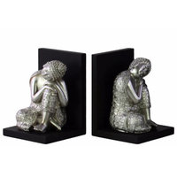 Buddha with Head Resting on Knee Bookend Assortment of 2-Silver-Benzara