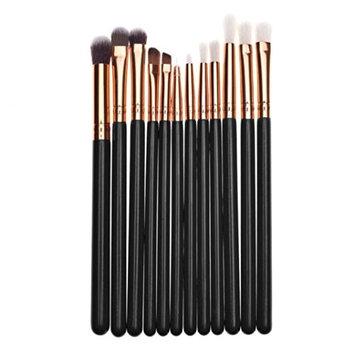 Kim88 Cosmetic Brushes 12PCS Set Lip Eyebrow Eyeliner Eyeshow Blush Make Up Concealer Brushes (A)