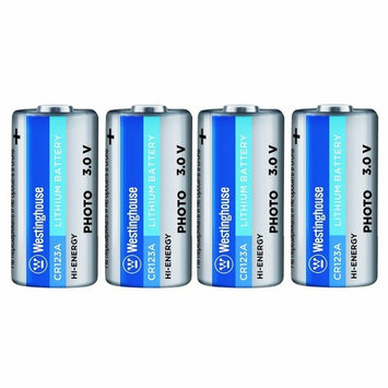 4pc CR123A Westinghouse 3 Volt Lithium Non-Rechargeable Battery for Security Cameras, Lights, Radios, Electronic Locks, Night Vision Flashlights, Golf Rangefinder, Yard Meter, Weapon Scope
