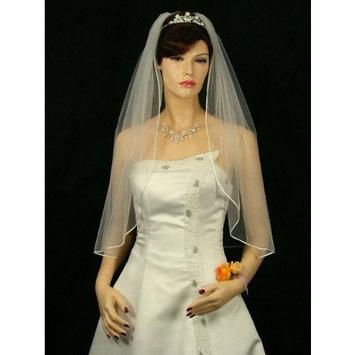 1T 1 Tier Sattin Rattail Cord Edge Bridal Wedding Veil - Ivory Elbow Length 30