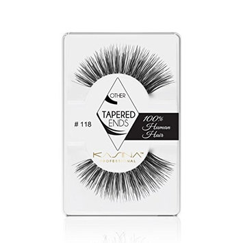 KASINA Professional False Eyelashes #118 (Long Wispies) Tapered Ends in 100% Human Hair, Version of Ardell Red Cherry, Pack of 6