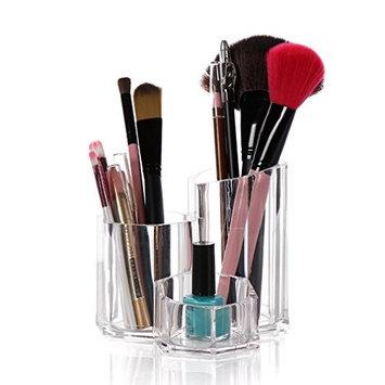 3 Slot Acrylic Makeup Brush Holder and Face Brushes Organizer ,5.3x5.3x4.7inch,