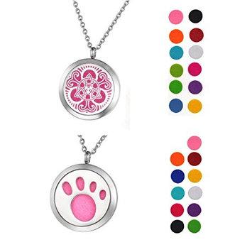 1 Set VALYRIA Essential Oil Diffuser Pendant Necklace Celtic, Paw Print Design Aromatherapy Jewelry- Perfume Locket